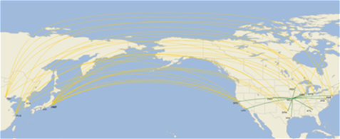 International Flight Map to Asia